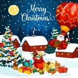 De giften van de Kerstmisvakantie op de kaart van de sneeuwgroet royalty-vrije illustratie