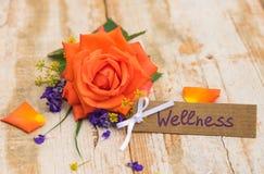 De de de giftkaart, bon of coupon voor Wellness met oranje namen voor Moedersdag of Valentijnskaartendag toe royalty-vrije stock foto
