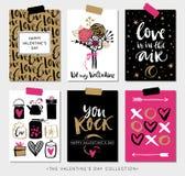 De giftkaarten van de valentijnskaartendag Kalligrafie en hand getrokken ontwerp Stock Afbeeldingen