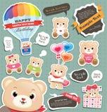 De giftmarkering/etiketten van de teddybeer Stock Foto