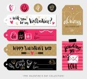 De giftmarkeringen, kaarten en stickers van de valentijnskaartendag met kalligrafie Royalty-vrije Stock Afbeelding