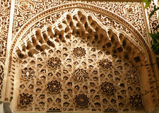 De Gipspleisterdetails in Bahia Palace van Marrakech Royalty-vrije Stock Fotografie
