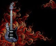 De gitaar is op brand. Royalty-vrije Stock Foto