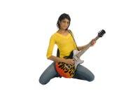 De gitaar van de holding en ernstig het kijken Royalty-vrije Stock Foto