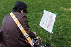 de gitaar van het mensenspel bij Odori-park, Sapporo Stock Foto's