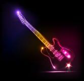 De gitaar van het neon, grunge muziek Stock Afbeelding