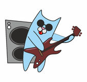 De gitaar van kattenspelen Royalty-vrije Stock Foto's