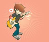 De gitaarspeler in beeldverhaalstijl, muziek en toont overleg, vectorillustratie Royalty-vrije Stock Afbeeldingen