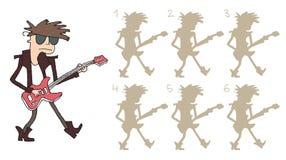 De gitaarspeler stelt Visueel Spel in de schaduw Royalty-vrije Stock Foto's