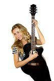 De gitarist van de dame Royalty-vrije Stock Fotografie