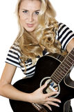 De gitarist van de dame Stock Fotografie
