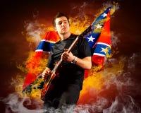 De gitarist van de rots Stock Foto