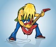 De gitarist van de rots het spelen op elektrische gitaar Stock Afbeelding