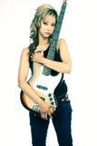 De Gitarist van de rots - musicus Stock Fotografie