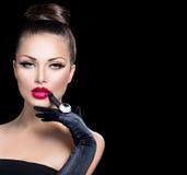 De Glamourmeisje van de schoonheidsmanier Stock Afbeeldingen