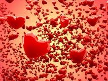 De glanzende Abstracte Achtergrond van harten (Diepte van Gebied) Stock Afbeeldingen