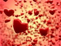 De glanzende Abstracte Achtergrond van harten (Diepte van Gebied) Royalty-vrije Stock Afbeeldingen