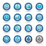 De glanzende Blauwe Pictogrammen plaatsen 2 - Web Stock Afbeeldingen