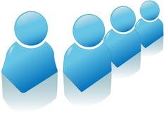 De glanzende Blauwe Reeks van het Pictogram van het Symbool van Mensen Stock Foto