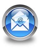 De glanzende blauwe ronde knoop van het bulletine-mail pictogram Stock Afbeeldingen
