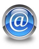 De glanzende blauwe ronde knoop van het e-mailadrespictogram Stock Foto's
