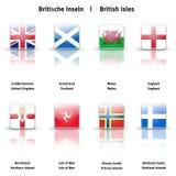 De glanzende Britse Eilanden van pictogrammen Stock Fotografie
