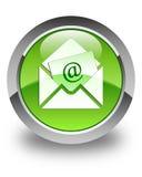 De glanzende groene ronde knoop van het bulletine-mail pictogram Royalty-vrije Stock Afbeelding
