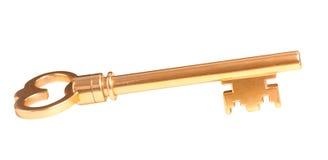 De glanzende grote decoratieve gouden sleutel van Nice Stock Afbeeldingen