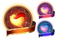 De glanzende Heldere cirkel van het Hart in kleuren stock illustratie