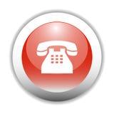 De glanzende Knoop van het Pictogram van het Teken van de Telefoon royalty-vrije illustratie