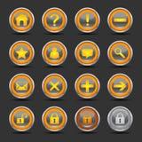 De glanzende Oranje Pictogrammen plaatsen 1 - Web Royalty-vrije Stock Afbeeldingen
