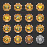 De glanzende Oranje Pictogrammen plaatsen 2 - Web Royalty-vrije Stock Fotografie