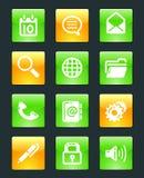 De glanzende pictogrammen van Webknopen Stock Afbeeldingen