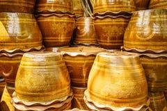 De glanzende pot van de terracottabloem Royalty-vrije Stock Foto