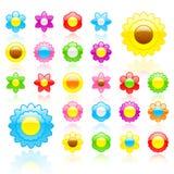 De glanzende reeks van het bloempictogram Royalty-vrije Stock Afbeeldingen
