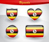 De glanzende reeks van het de vlagpictogram van Oeganda Royalty-vrije Stock Afbeelding