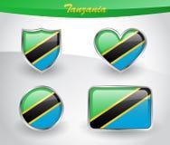 De glanzende reeks van het de vlagpictogram van Tanzania Stock Afbeeldingen