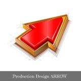 De glanzende rode oranje schets van het pijlconcept Royalty-vrije Stock Fotografie