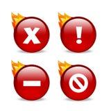 De glanzende rode pictogrammen van de websitefout met vlammen Royalty-vrije Stock Foto's