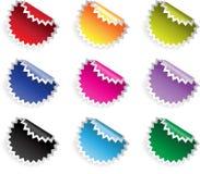 De glanzende stickers van de kleur in jaggies met bezinning Stock Foto