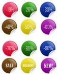 De glanzende Stickers van de Korting van de Verkoop Royalty-vrije Stock Foto's