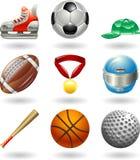 De glanzende vastgestelde reeks van het sportenpictogram Royalty-vrije Stock Foto