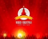 De Glanzende Verlichte Achtergrond van Kerstmis Vector Illustratie