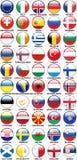 De glanzende Vlaggen van Knopen Europese Landen Stock Foto