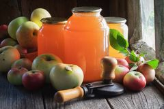 De glaskruiken appelsap, appelen en kunnen deksel sluitende machine om in te blikken Royalty-vrije Stock Foto's