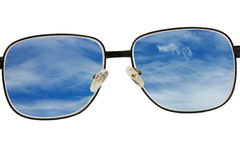 De glazen bekijken blauwe hemel stock afbeeldingen