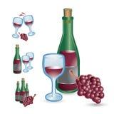 De glazen, de flessen, en de druiven van de wijn Royalty-vrije Stock Afbeeldingen