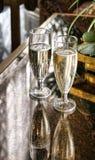 Champagne-glazen stock foto's