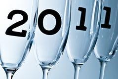 De glazen van Champagne in 2011 V6 Royalty-vrije Stock Afbeeldingen