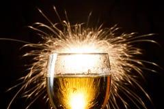 De glazen van Champagne met brand Royalty-vrije Stock Foto